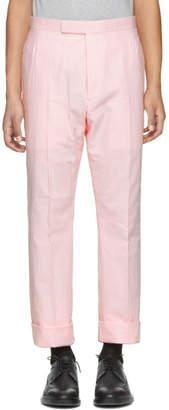 Thom Browne Pink Seersucker Classic Backstrap Trousers