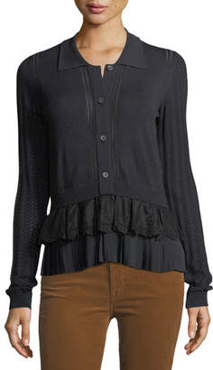 No.21 No. 21 Button-Front Long-Sleeve Mixed-Knit Top with Chiffon Ruffle