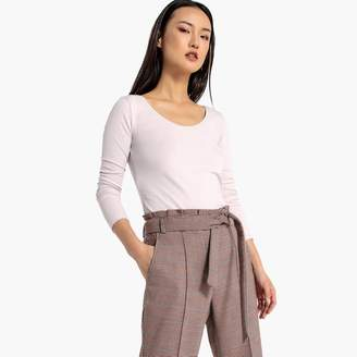 La Redoute Collections Long-Sleeved T-Shirt with Deep Scoop Neck