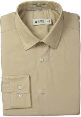 Haggar Men's End On End Solid Point Collar Regular Fit Long Sleeve Dress Shirt