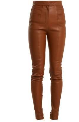 Balmain High-rise skinny leather trousers