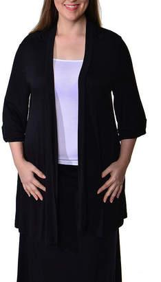 24/7 Comfort Apparel 3/4 Sleeve Cardigan-Plus