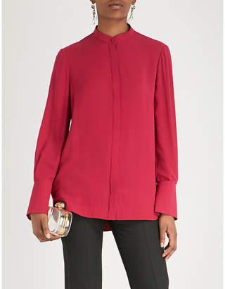 Alexander McQueen Mandarin-collar silk-crepe shirt