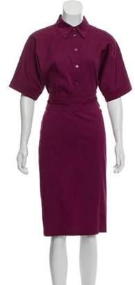 Gucci Belted Shirt Dress Purple Belted Shirt Dress