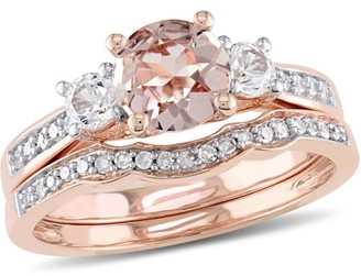 Tangelo 1-1/7 Carat T.G.W. Morganite and Created White Sapphire with 1/7 Carat T.W. Diamond 10kt Rose Gold Three-Stone Bridal Set
