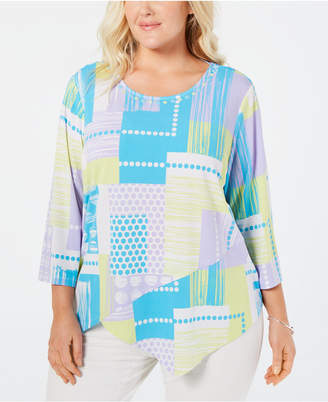 Alfred Dunner Plus Size Butterfly Effect Patchwork-Print Asymmetrical Top