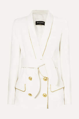 4bce1a4cbc27 Balmain Belted Double-breasted Woven Blazer - Off-white