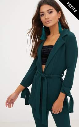 PrettyLittleThing Petite Emerald Green Tie Sleeve Jacket