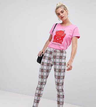 Daisy Street high waist slim pants in check