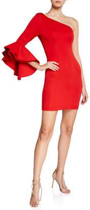 Jovani One-Shoulder Flounce-Sleeve Fitted Scuba Dress