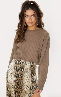 PrettyLittleThing Taupe Ribbed Balloon Sleeve Cropped Jumper