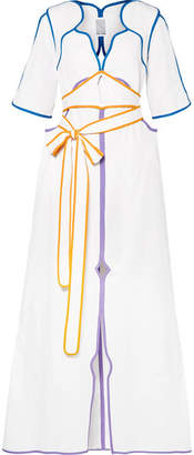 Rosie Assoulin Belted Color-block Cotton-poplin Maxi Dress