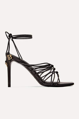 Balmain Mikki Knotted Leather Sandals - Black