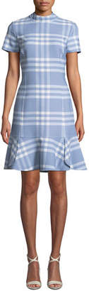 Oscar de la Renta Short-Sleeve Wool-Blend Plaid Shift Dress w/ Flounce