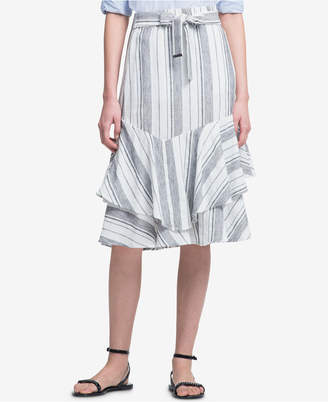 DKNY Striped Ruffled Skirt