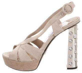 Prada Suede Embellished Sandals