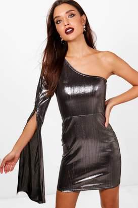 boohoo Metallic One Shoulder Bodycon Dress