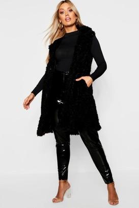 boohoo Plus Shaggy Faux Fur Gilet