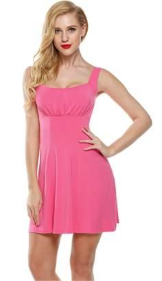 Zeagoo Women Sleeveless Empire Waist Solid Flare Fit A-Line Mini Dress