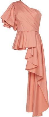 Johanna Ortiz Pampas One-Shoulder Asymmetric Cotton-Poplin Top