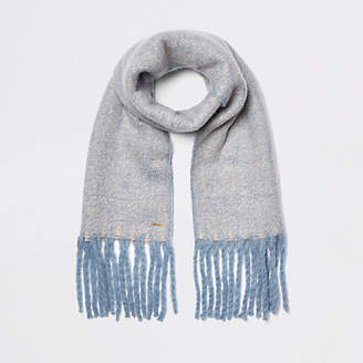 River Island Womens Light Blue marl fluffy scarf