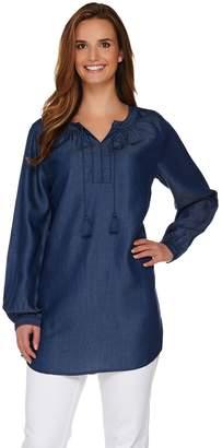 Denim & Co. Long Sleeve Denim Peasant Tunic