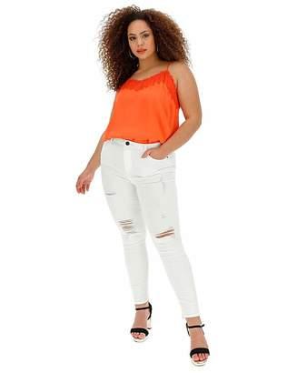 Chloé Simply Be White Rip High Waist Skinny Jeans