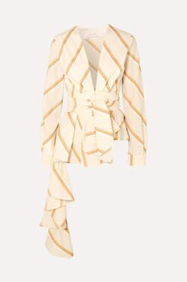 Johanna Ortiz Party Wave Striped Cotton-poplin Blouse - Ivory