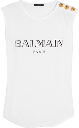 Balmain - Printed Cotton-jersey Top - White $205 thestylecure.com
