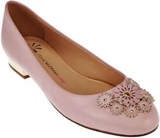 Isaac Mizrahi Live! Leather Ballet Flats w/ Floral Embellishments