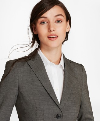 Brooks Brothers Petite Bird's-Eye Stretch-Wool Two-Button Jacket