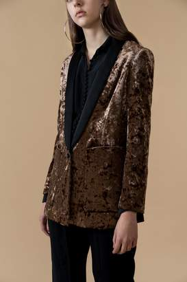 Genuine People Long Crushed Velvet Blazer