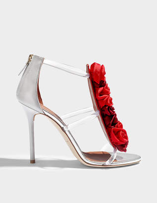 Malone Souliers Binta Rose Sandals in Wine, Ruby, Silver and Grey PVC and Nappa Leather