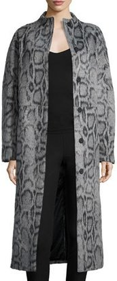 Elizabeth and James Balin Long Animal-Print Coat, Gray/Navy $695 thestylecure.com