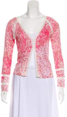 Blumarine Lace-Trimmed Abstract Print Cardigan