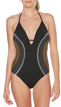 Laundry by Shelli Segal Embroidered Plunging One-Piece Swimsuit