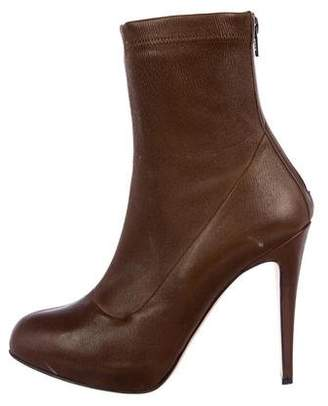 Brian Atwood Round-Toe Leather Ankle Boots