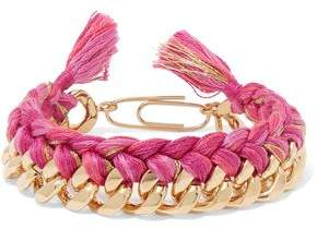 Aurelie Bidermann Do Brasil 18-Karat Gold-Plated And Braided Cotton Bracelet