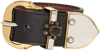 Alexander McQueen Black Leather Siena Bracelet