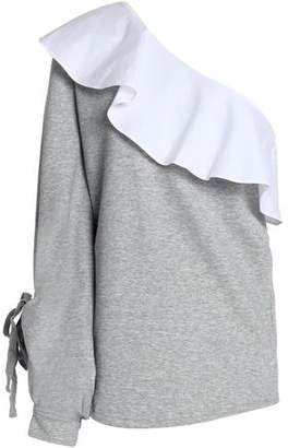 W118 By Walter Baker Woman Marge One-shoulder Ruffled Poplin-paneled Cotton-blend French Terry Sweatshirt Gray Size L W118 by Walter Baker cudvMGj1e