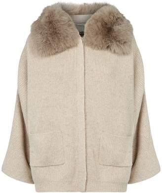 Max & Moi Kate Fur Collar Cardigan