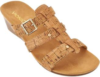 Vionic Orthotic Adjustable Triple Strap Slide Wedges - Radia