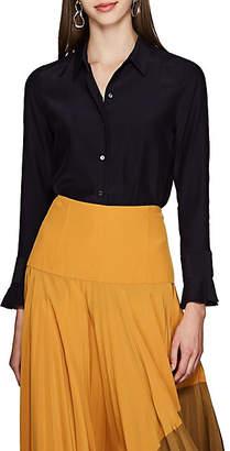 Barneys New York Women's Ruffled-Cuff Silk Crepe Blouse - Navy