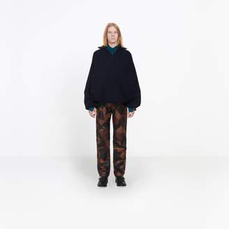 Balenciaga Wool mix highneck cable knit sweater