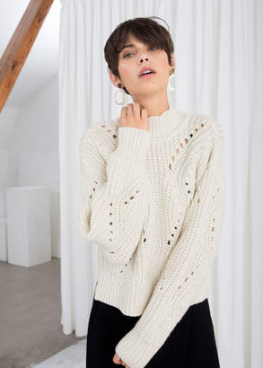 And other stories Mock Neck Cable Knit Sweater