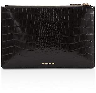 Whistles Shiny Small Croc-Embossed Leather Clutch