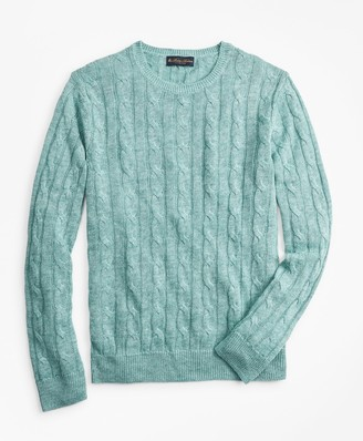 Brooks Brothers Linen Cable Crewneck Sweater
