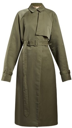 The Row Neita Silk Trench Coat - Womens - Dark Green