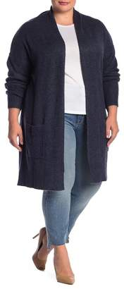 Susina Shawl Collar Knee Length Cardigan (Plus Size)