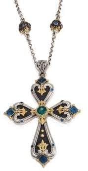 Konstantino Nemesis London Blue Topaz& Green Agate Cross Pendant